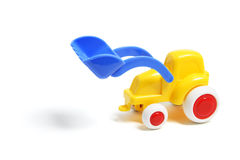 Plastic Toy Earthmover. On White Background Royalty Free Stock Images