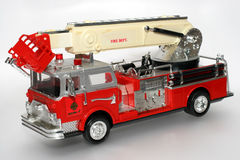 Plastic toy fire truck. One of the many thousand  toys my brother is collecting. Battery opperated toy from the 80's Stock Image