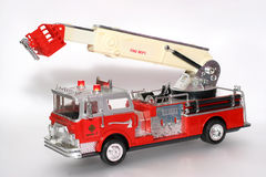 Plastic toy fire truck with lights stock photo