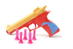 Plastic Toy Gun and Bullets Stock Photos
