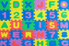 Plastic toy letters spelling the word Autism. Multicolored plastic toy letters spelling the word Autism Stock Image