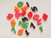 Plastic toy numbers Stock Image
