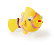 Plastic toy mechanical fish isolated Stock Image