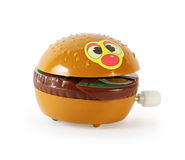 Plastic toy mechanical hamburger isolated Royalty Free Stock Photo