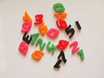 Plastic toy numbers Stock Photography