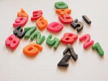 Plastic toy numbers Stock Photo