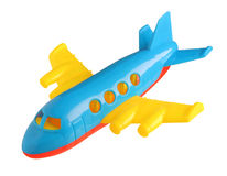 Plastic toy plane. Isolated on white background royalty free stock images
