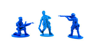 Plastic toy soldiers. On white background Stock Photography