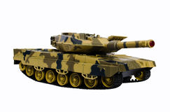 Plastic toy tank isolated on white background Stock Photos
