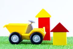 A plastic toy tip truck Royalty Free Stock Images