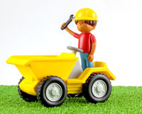 A plastic toy tip truck Stock Photo
