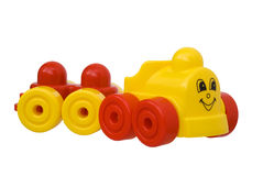 Plastic toy train. Toy train plastic yellow and red Stock Photos