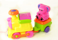 Plastic toy train Royalty Free Stock Images