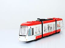 Plastic Toy Train On A White Surface Stock Image