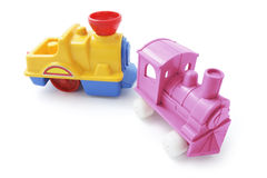 Plastic Toy Trains Stock Photo