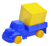 Plastic toy truck with cargo Royalty Free Stock Photos