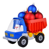 Plastic toy truck with christmas ball toys Stock Photo