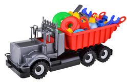 Plastic toy truck with instruments Royalty Free Stock Image
