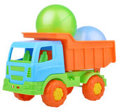 Plastic toy truck isolated on white background Royalty Free Stock Images