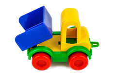 Plastic toy truck on white Royalty Free Stock Photography