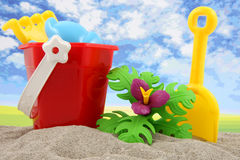Plastic toys for beach and vacation Stock Photos