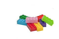 Plastic toys, building blocks. Royalty Free Stock Photos