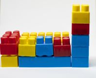 Plastic toys building blocks royalty free stock photo