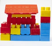 Plastic toys building blocks royalty free stock images