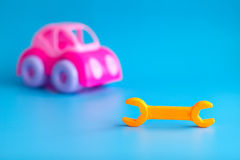Plastic toys for children on a blue background Stock Photography