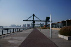 Plastic Track. In Xuhui Riverside.It's a good place to run Stock Images