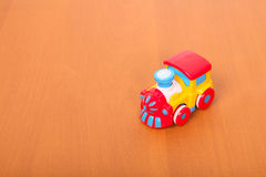 Plastic train on the floor Royalty Free Stock Images
