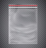 Plastic transparent bag with a closing strip. Stock Images