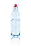 Plastic transparent bottle of water isolated on white. Plastic transparent bottle of water isolated on the white background Royalty Free Stock Photos