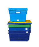 Plastic transport boxes royalty free stock images
