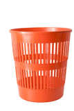 Plastic  trash can. A red plastic  trash can. Isolated on a white background Royalty Free Stock Photos