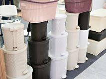Plastic trash cans in store. Plastic trash cans in the store of household goods Stock Images