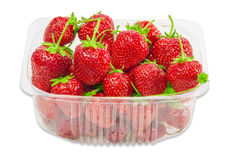Plastic tray with strawberries Stock Photos