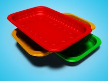 Plastic trays of different colors 3d render on gray background with shadow. Plastic trays of different colors 3d render on gray background royalty free illustration