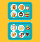 Plastic Trays with Fast Food and Drinks Royalty Free Stock Photo