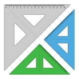 Plastic triangle rulers Stock Image