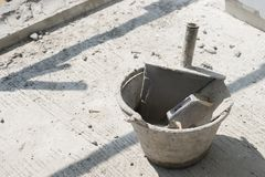 Plastic trowel in bucket, equipment for used in Construction building stock photos