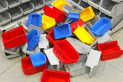 Plastic Tubs and Bins. Big Bunch of Colorful Plastic Bins and Tubs stock photo