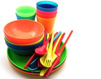 Plastic utensils Royalty Free Stock Photography