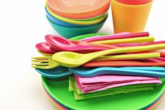 Plastic utensils Royalty Free Stock Photos