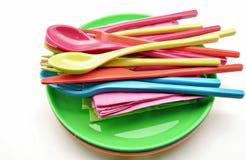 Plastic utensils Stock Photos