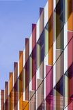 Plastic vanes. Brightly coloured plastic vanes on the side of a building in Oxford stock photo