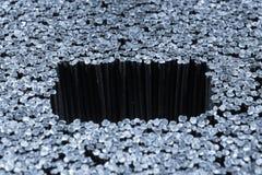 Plastic varkenshaar van een borstel, abstracte macroachtergrond stock fotografie