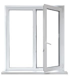 Plastic venster met geopende deur Royalty-vrije Stock Afbeelding