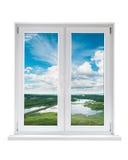 Plastic venster met mening aan landschap Royalty-vrije Stock Fotografie
