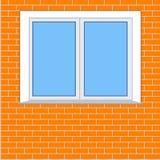 Plastic venster op de achtergrond van een bakstenen muur Stock Fotografie